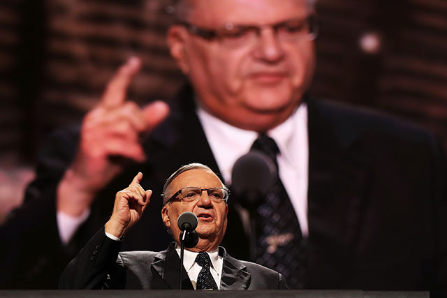 Maricopa County Sheriff Joe Arpaio gestures to the crowd while delivering a speech on the fourth day of the Republican National Convention on July 21, 2016, at the Quicken Loans Arena in Cleveland, Ohio. (Photo: John Moore / Getty Images)