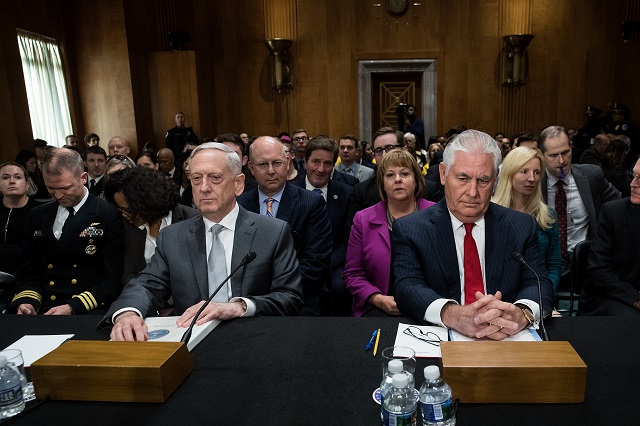 WASHINGTON, DC - OCTOBER 30: (L to R) U.S. Secretary of Defense James Mattis and U.S. Secretary of State Rex Tillerson take their seats as they arrive for a Senate Foreign Relations Committee hearing concerning the authorizations for use of military force, October 30, 2017 in Washington, DC. As Mattis and Tillerson face questions about the administration's authority to use military force, Congress is still seeking more information about the deadly ambush that killed four U.S. troops in Niger. (Photo by Drew Angerer/Getty Images)